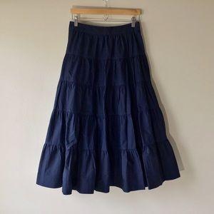 NEW J.CREW Tiered Midi Skirt Cotton Poplin  Size 4